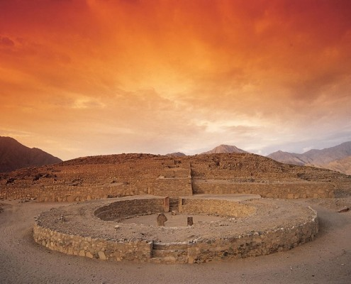 Sonnenuntergang in Caral