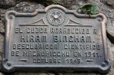 Hiram Bingham Gedenktafel