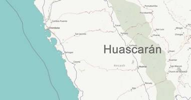 Karte Anreise Huascaran Peru