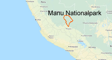 Karte Manu Nationalpark Madre de Dios