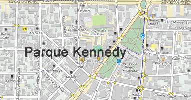 Karte Anreise Parque Kennedy Miraflores