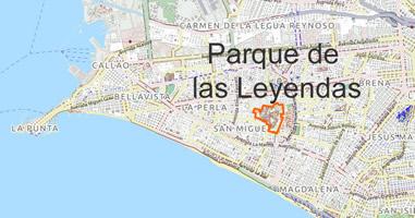 Karte Anreise Parque de las Leyendas