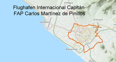 Flughafen International Capitan FAP Carlos Martinez de Pinillos Trujillo Karte