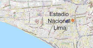Karte Estadio Nacional in Lima