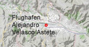 Karte Flughafen Alejandro Velasco Astete Cusco
