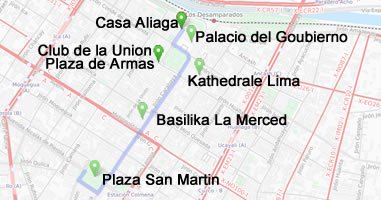 Karte Sehenswürdigkeiten Peru im Zentrum Lima