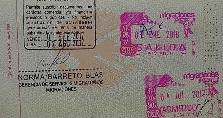 Einreisestempel Peru Visa